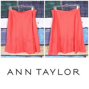 New Ann Taylor Linen Embroidered A-Line Skirt